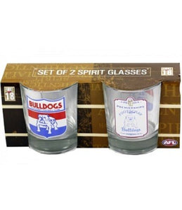 AFL First 18 Heritage Spirit Glasses - 2 Pack - Western Bulldogs - Footscray