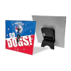 Licensed AFL Team Mini Analogue Glass Desk Mantle Clock - Western Bulldogs