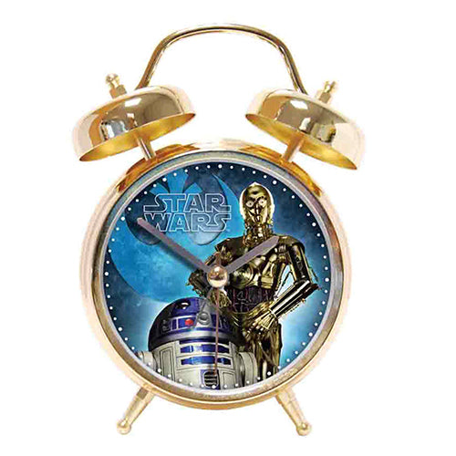 Star Wars C3PO & R2D2 Twin Bell Gold Alarm Clock - Official Merchandise