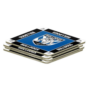NRL Set of 4 Cork Drinking Coasters - Canterbury Bulldogs