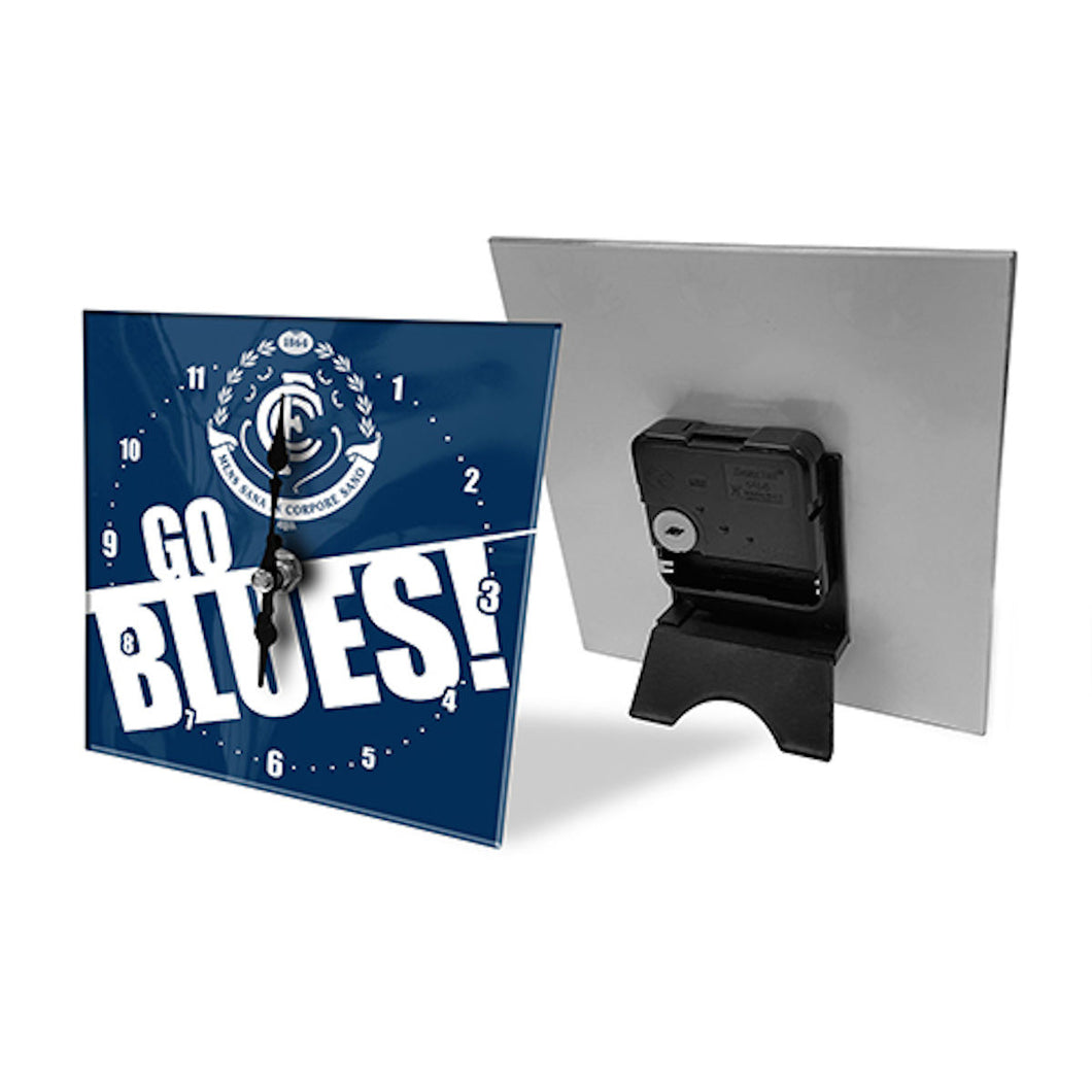 Licensed AFL Team Mini Analogue Glass Desk Mantle Clock - Carlton Blues