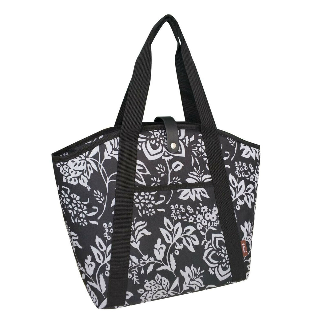 Sachi Large Insulated Cooler Beach Tote Bag - Camelia Black