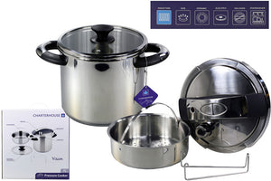 Charterhouse Vision Stainless Steel Pressure Cooker with Glass Lid - 7 Litre