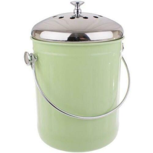 Appetito Stainless Steel Kitchen Compost Bin 5 Litre - Green