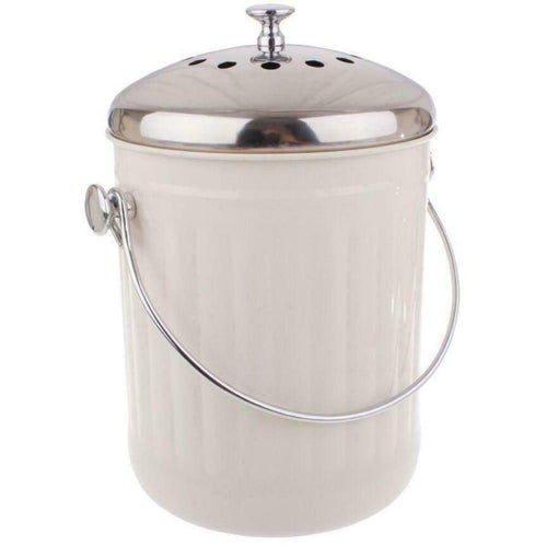 Appetito Stainless Steel Kitchen Compost Bin 5 Litre - White