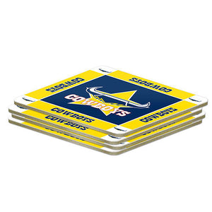NRL Set of 4 Cork Drinking Coasters - North Queensland Cowboys