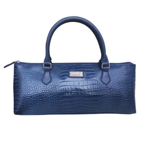 Sachi Wine Purse Cooler Tote Bag - Crocodile Navy