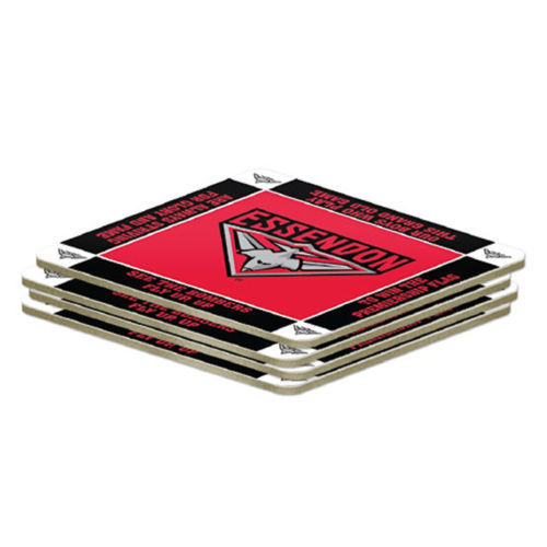 AFL Set of 4 Cork Drinking Coasters - Essendon Bombers