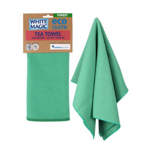 White Magic Eco Cloth Tea Towel - Forest Green