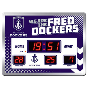 Licensed AFL Glass Scoreboard LED Clock - FREMANTLE DOCKERS - NEW