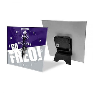 Licensed AFL Team Mini Analogue Glass Desk Mantle Clock - Fremantle Dockers