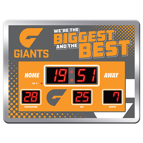 Licensed AFL Glass Scoreboard LED Clock - Greater West Sydney Giants - GWS - NEW