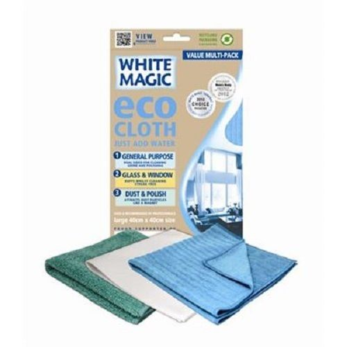 White Magic Eco Cloth Household Value Pack - Large 40cm x 40cm - 3 Cloths
