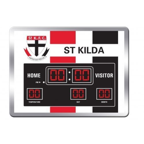 Licensed AFL Glass Scoreboard LED Clock - St Kilda Saints