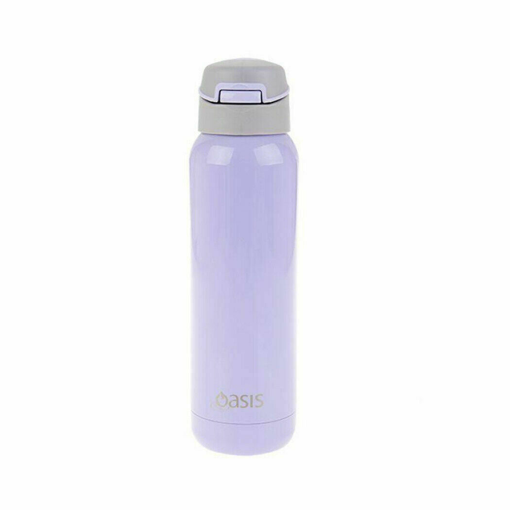 Oasis S/S Insulated Sports Water Bottle 500ml Lilac w Flip Top Lid