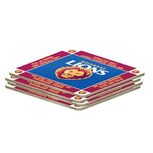 AFL Set of 4 Cork Drinking Coasters - Brisbane Lions