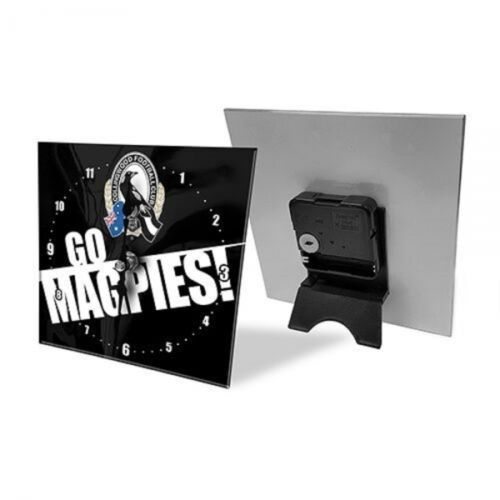 Licensed AFL Team Mini Analogue Glass Desk Mantle Clock - Collingwood Magpies