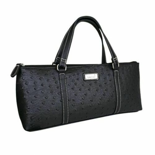 Sachi Insulated Wine Purse Cooler Tote Bag - Ostrich Black