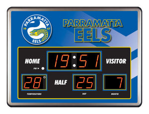 Licensed NRL Glass Scoreboard LED Clock - Parramatta Eels