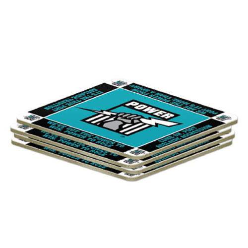 AFL Set of 4 Cork Drinking Coasters - Port Adelaide Power