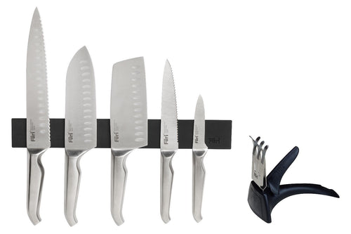 Furi Pro 7 Piece Knife Wall Rack Set - Includes Diamond Fingers Sharpener