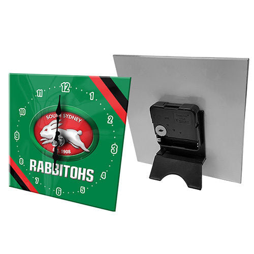 Licensed NRL Team Mini Analogue Glass Desk Mantle Clock - South Sydney Rabbitohs