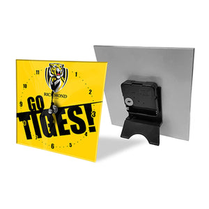 Licensed AFL Team Mini Analogue Glass Desk Mantle Clock - Richmond Tigers