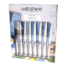 Load image into Gallery viewer, Wiltshire 8 Piece Stainless Steel Steak Knife Set - S/S Handles - 12cm