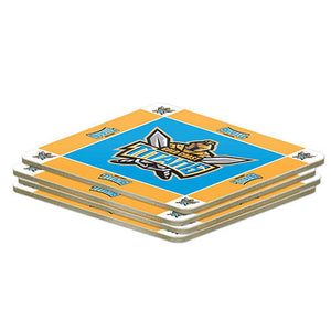 NRL Set of 4 Cork Drinking Coasters - Gold Coast Titans