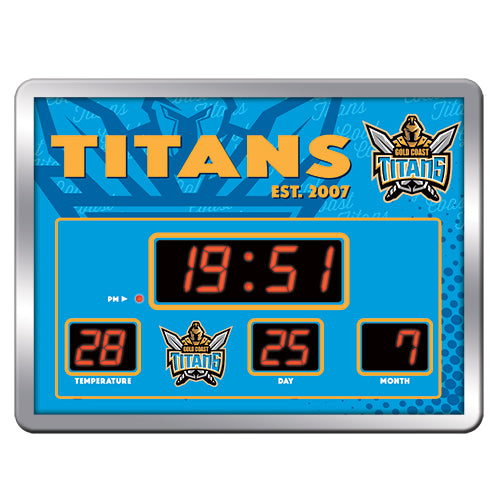 Licensed NRL Glass Scoreboard LED Clock - Gold Coast Titans - NEW