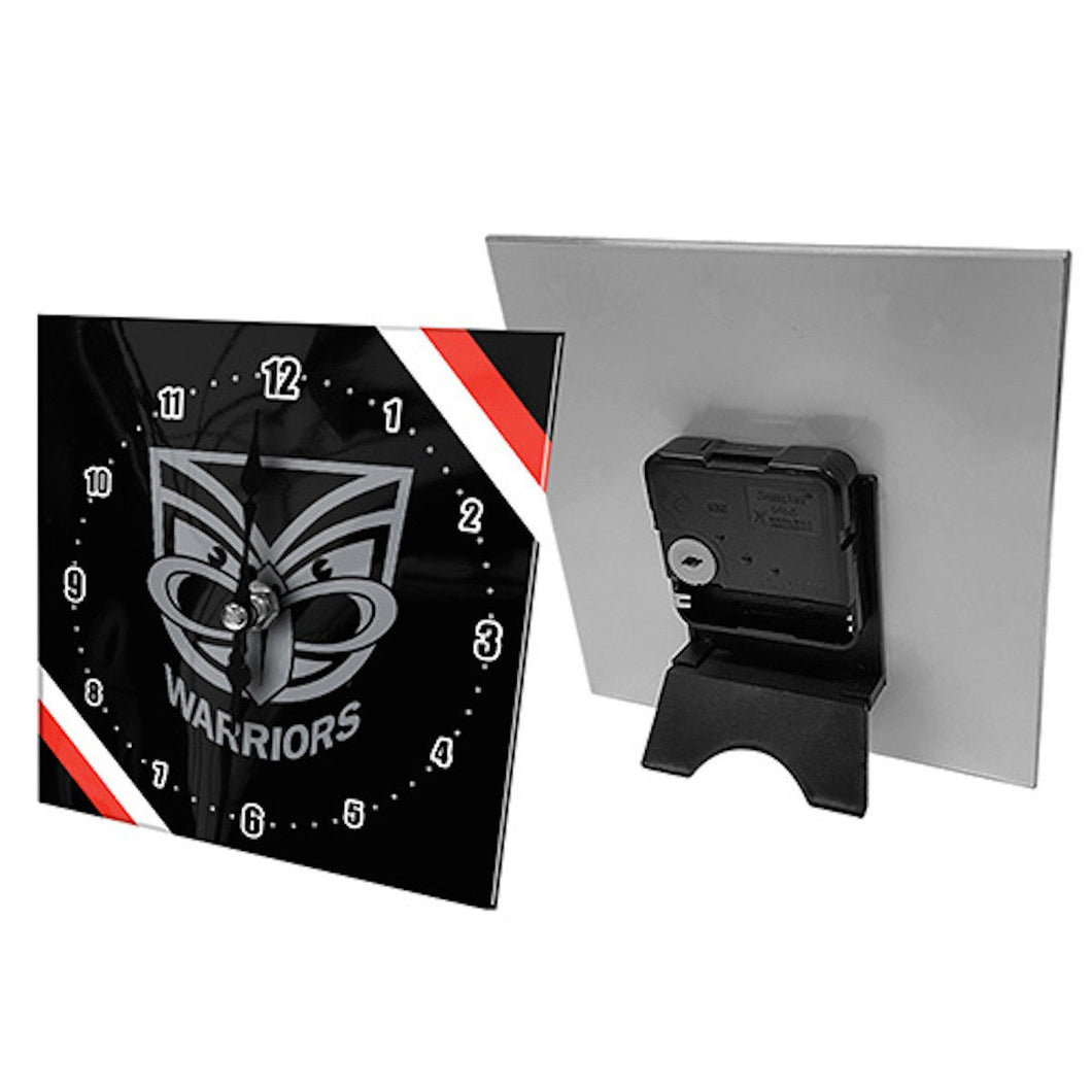 Licensed NRL Team Mini Analogue Glass Desk Mantle Clock - New Zealand Warriors