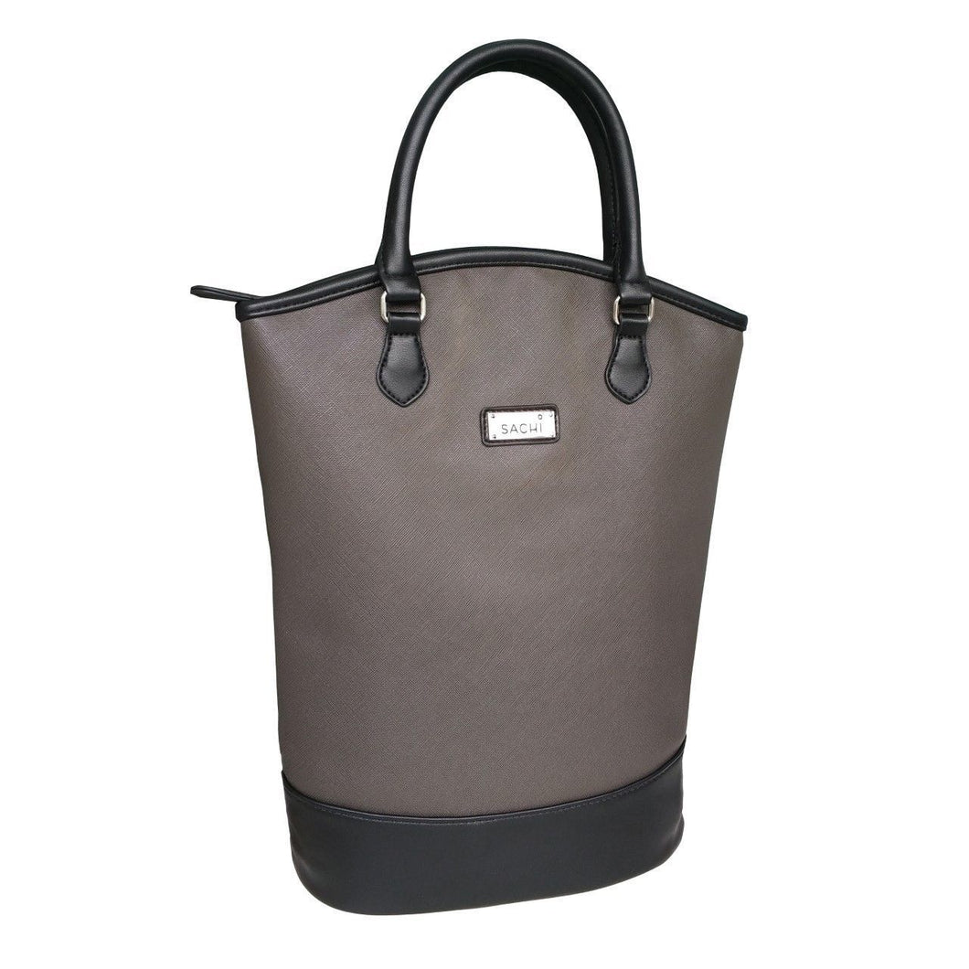 Sachi Two Wine Bottle Insulated Cooler Tote Bag - Charcoal