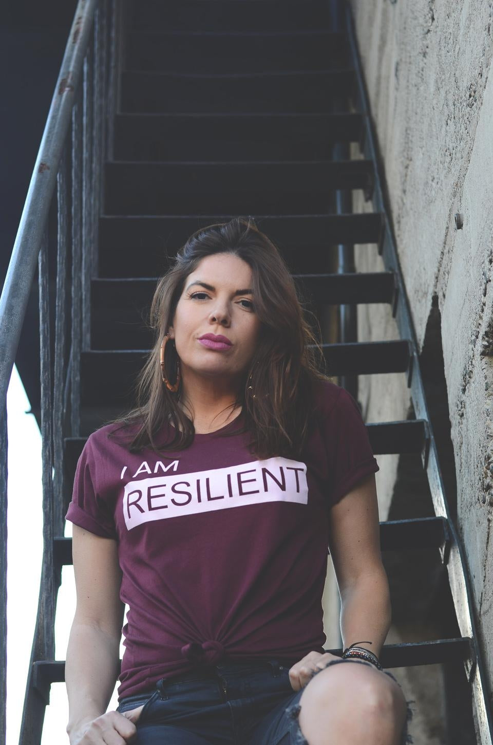 I AM RESILIENT T-shirt Burgundy