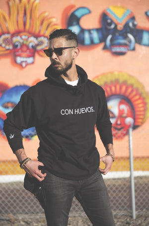 Con Huevos. Embroidered Hoodie Black