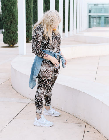 Leopard   elastic leggings- gray