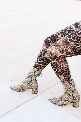 Leopard elastic leggings - brown