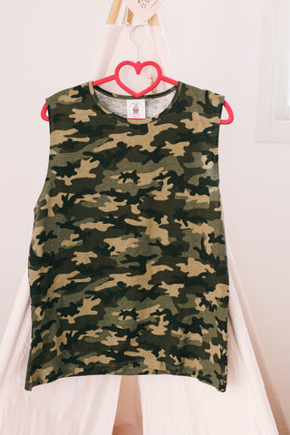 Sleeve-less shirt -ORTAL-  camouflage