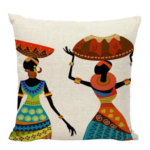 Colourful African Woman Girl Dancing Cushion Cover