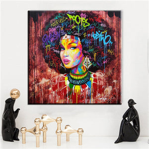Abstract Modern African Women Canvas Oil Painting Wall Art