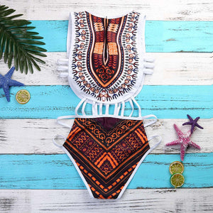 African Print Bikini Swimsuit with Push-Up Bra