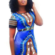 Load image into Gallery viewer, Dashiki Bodycon Short Sleeve Dress