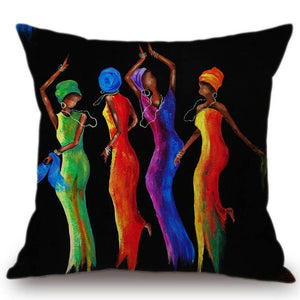 Decoration Africa Culture Colourful Dancing African Women Cushion Cover
