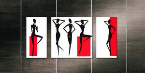 3 Piece Modern Wall Oil Painting Black White Red African Women