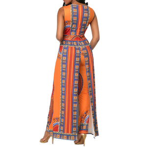 African Print Bodycon Deep V-Neck Party Jumpsuits