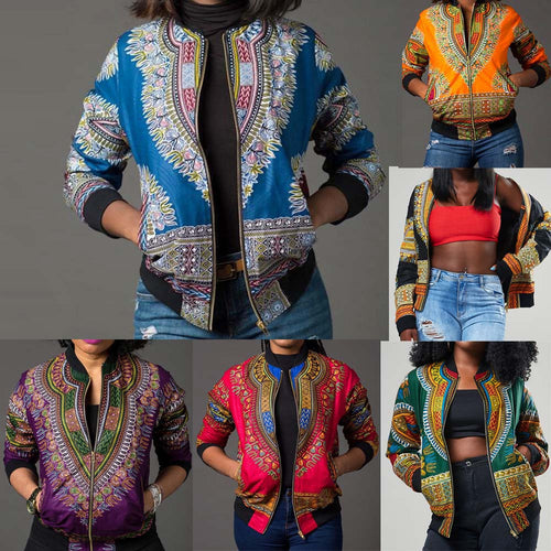 Dashiki Print Long Sleeve Casual Jacket