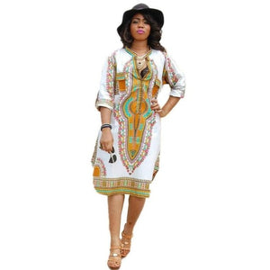 Summer Casual Deep V-Neck Traditional African Print Dress