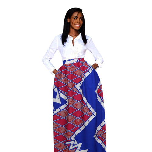Dashiki Print Elastic High Waist Long Skirt