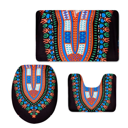 African Bathroom Mat Set Black