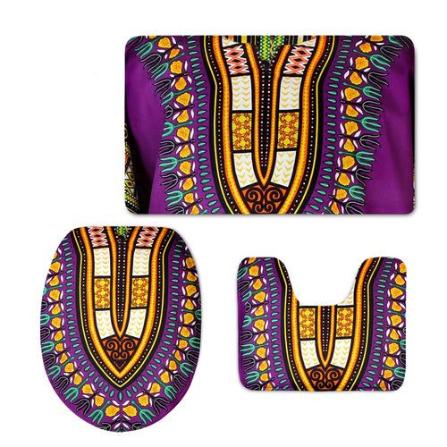 African Bathroom Mat Set Purple