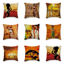 Load image into Gallery viewer, African Impression Sofa Throw Pillow Cover Cotton Linen Decorative Cushion Cover
